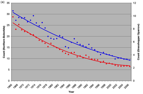 Population trends (mean annual BBS counts) for the Northern Bobwhite (blue) and Grasshopper Sparrow (red).
