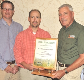 Greg Hagan of the Florida Fish & Wildlife Conservation Commission, (left to right) Dr. Theron M. Terhune of Tall Timbers Research Station and Reggie Thackston of the Georgia Department of Natural Resources accepted the Legacy Landscape designation for the Albany/Red Hills region.