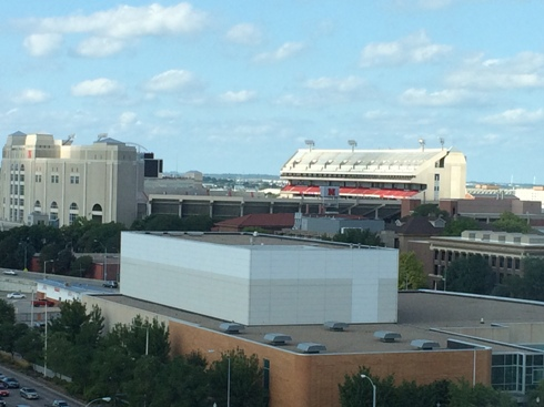 View of Cornhusker Stadium from my hotel