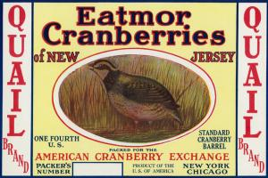 Quail Brand Eatmor Cranberries sign, featuring a bobwhite.