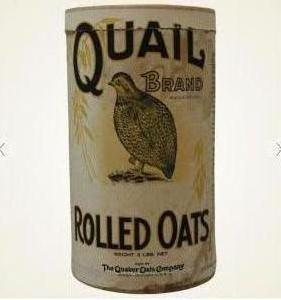 Quail Brand package of rolled oats, featuring a bobwhite.