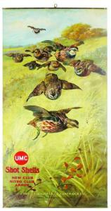 Union Metallic Cartridge Company shotgun shells advertisement, featuring bobwhites.