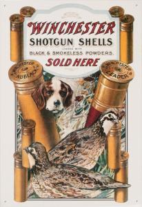 Winchester shotgun shells advertisement, featuring bobwhites and bird dogs.
